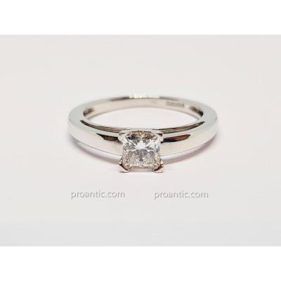 Solitaire Fiançailles Diamant 0.52 Carat En Or Blanc 18 Carats 750/1000 2.95 Grammes
