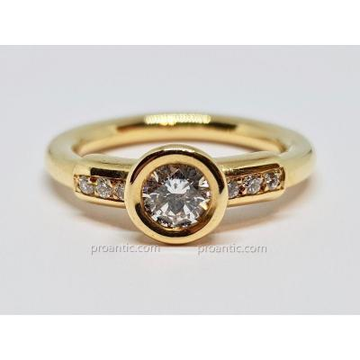 Bague En Or Jaune 18 Carats 750/1000 Diamants 0.60 Carat 7.20 Grammes