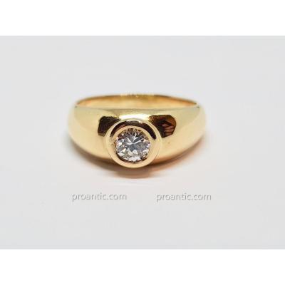 Bague Jonc Diamant 0.50 Carat En Or Jaune 18 Carats 750/1000 6.15 Grammes