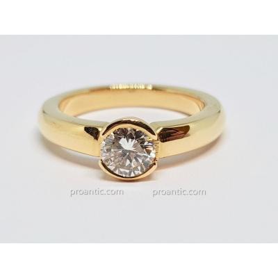 Bague - Solitaire Diamant 0.55 Carat En Or Jaune 18 Carats 750/1000 6.70 Grammes