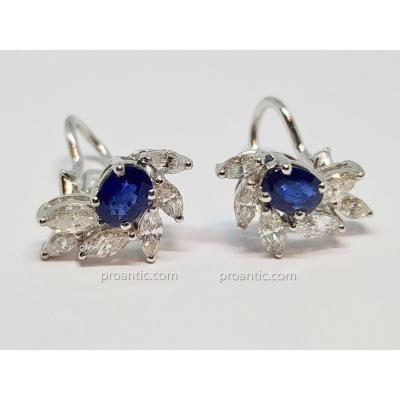 Boucles d'Oreilles Saphirs & Diamants En Or Blanc 18 Carats 750/1000 5.85 Grammes