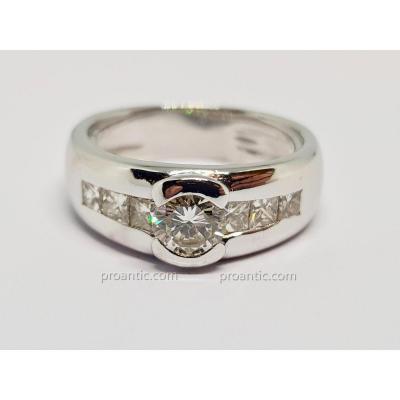 Bague fiançailles Diamants 1.10 carat en Or blanc 18 carats 750/1000 8.79 grammes