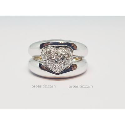 Bague Coeur Diamants 0.30 Carat En Or Blanc 18 Carats 750/1000 9.23 Grammes