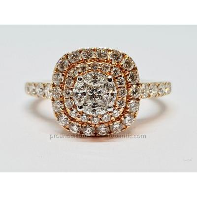 Bague Diamants 1.80 Carat En Or Rose 18 Carats 750/1000 4.98 Grammes