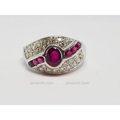Bague Rubis & Diamants En Or Blanc 18 Carats 750/1000 6.55 Grammes