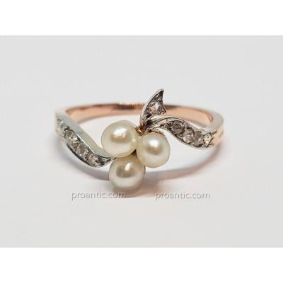 Bague Ancienne Art Nouveau Perles Culture & Roses Diamant En Or Rose 18k 750/1000 2.30 Grammes