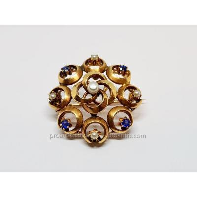 Broche Ancienne Belle Epoque Perles & Saphirs En Or Jaune 18 Carats 750/1000 2.97 Grammes