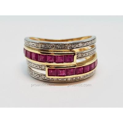 Ring In Yellow Gold 18 Carats 750/1000 Ruby & Diamonds 5.42 Grams