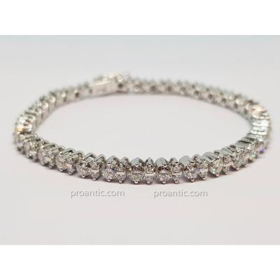 River Bracelet In White Gold 18 Carats 750/1000 105 Diamonds 5.50 Carats 16.66 Grams