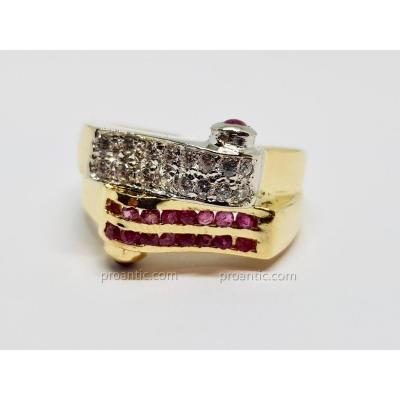 Bague Tank Rubis & Diamants 2 Ors Jaune & Blanc 18 Carats 750/1000 7.47 Grammes