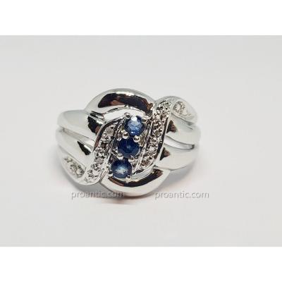 Bague En Or Blanc 18 Carats 750/1000 Saphir & Diamants 4.63 Grammes