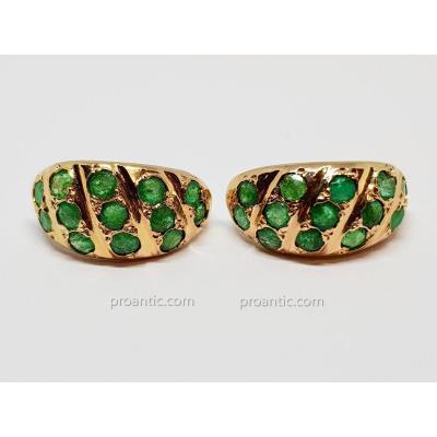 Earrings In Yellow Gold 18 Carats 750/1000 Emeraudes 3.65 Grams