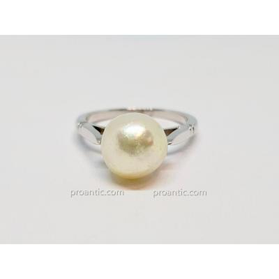 Bague - Solitaire Perle Baroque en Or Blanc 18 Carats 750/1000 4.91 Grammes