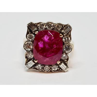 Bague Ancienne En Or Jaune 14 Carats 585/1000 & Argent 925/1000 Rubis & Diamants 7.61 Grammes