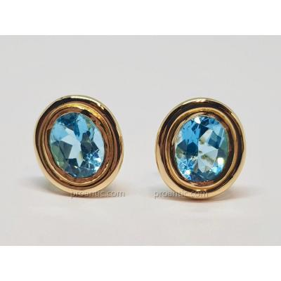 Pierced Earrings In Yellow Gold 18 Carats 750/1000 Topazes 8.90 Carats 10.28 Grams