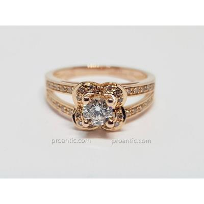 Bague Mauboussin En Or Rose 18 Carats 750/1000 Diamants 0.40 Carat 3.42 Grammes