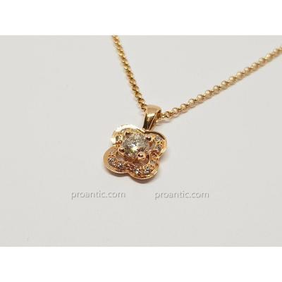 Collier Mauboussin En Or Rose 18 Carats 750/1000 Diamants 0.25 Carat 3.59 Grammes