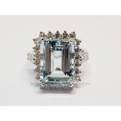 Bague Aigue-marine & Diamants En Or Blanc 14 Carats 585/1000 7.19 Grammes