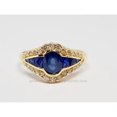 Bague Ancienne Saphirs & Diamants En Or Jaune 18 Carats 750/1000 3.47 Grammes