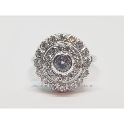 Bague Ancienne En Or Blanc 18 Carats 750/1000 30 Diamants 1.50 Carat 4.11 Grammes