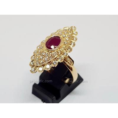 Bague Marquise Rubis & Diamants En Or Jaune 18 Carats 750/1000 8.97 Grammes