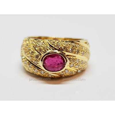 Bague Godron Rubis & Diamants En Or Jaune 18 Carats 750/1000 12.27 Grammes
