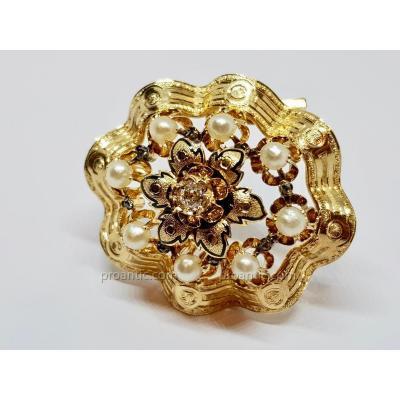 Broche Ancienne Belle Epoque Or Jaune 18 Carats 750/1000 Perles & Diamant 16.30 Grammes