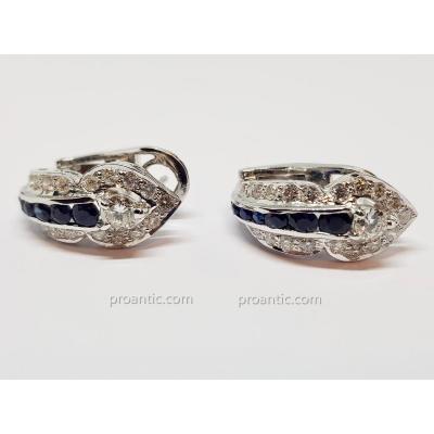 Boucles d'Oreilles Ancienne Saphirs & Diamants En Or Blanc 18 Carats 750/1000 14.83 Grammes