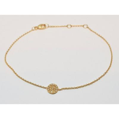 Bracelet En Or Jaune 18 Carats 750/1000 Diamants 0.07 Carat 1.07 Gramme