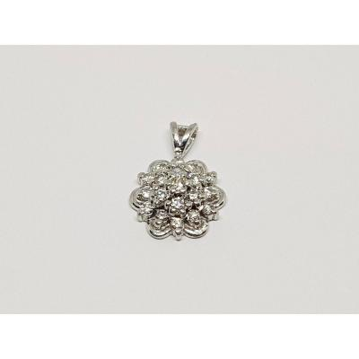 Pendentif Diamants 0.20 Carat En Or Blanc 18 Carats 750/1000 1.51 Gramme