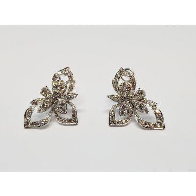 Boucles d'Oreilles Fleurs En Or Blanc 18 Carat 750/1000 Diamants 6.46 Grammes