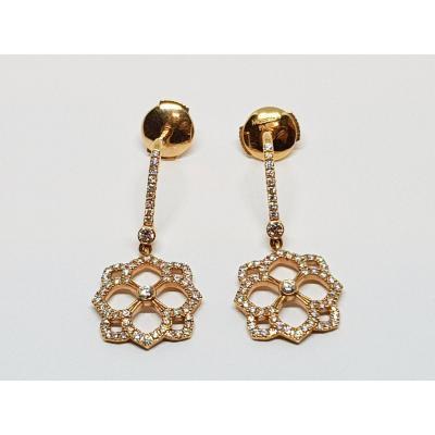 Boucles d'Oreilles Messika En Or Rose 18 Carats 750/1000 Diamants 4 Grammes