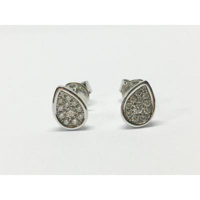 Boucles d'Oreilles Poires Diamants En Or Blanc 18 Carats 750/1000 1.87 Gramme