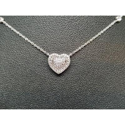 Collier Coeur En Or Blanc 18 Carats 750/1000 Diamants 0.30 Carat 2.52 Grammes