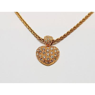 Collier - Ras De Cou Coeur En Or Jaune 18 Carats 750/1000 Diamants 8.66 Grammes