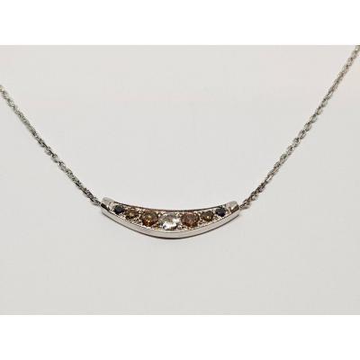 Collier - Ras De Cou En Or Blanc 18 Carats 750/1000 Diamants 2.83 Grammes