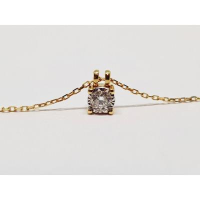 Collier En Or Jaune 18 Carats 750/1000 Diamant 0.12 Carat 1.54 Gramme