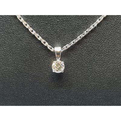 Collier - Ras De Cou En Or Blanc 18 Carats 750/1000 Diamant 0.36 Carat 5.55 Grammes
