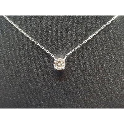 Collier- Ras De Cou En Or Blanc 18 Carats 750/1000 Diamant 0.32 Carat 1.43 Gramme