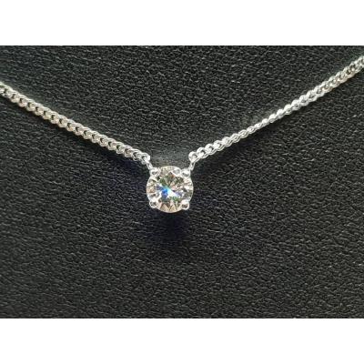 Collier - Ras De Cou En Or Blanc 18 Carats 750/1000 Diamant 0.34 Carat 2.80 Grammes