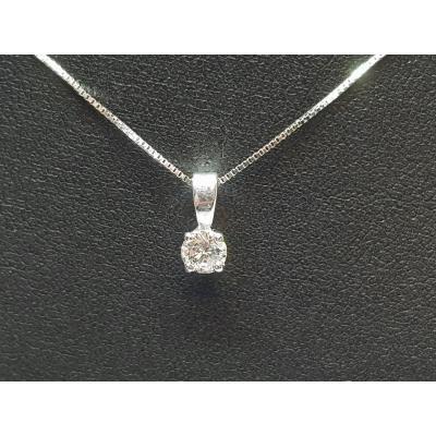 Collier - Ras De Cou En Or Blanc 18 Carats 750/1000 Diamant 0.30 Carat 1.58 Gramme