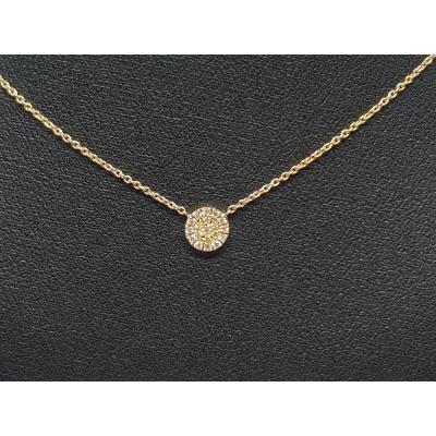 Collier - Ras De Cou En Or Jaune 18 Carats 750/1000 19 Diamants 0.10 Carat 1.77 Gramme 40-42 Cm