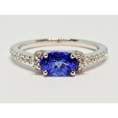 Bague En Or Blanc 18 Carats 750/1000 Tanzanite & Diamants 3.25 Grammes