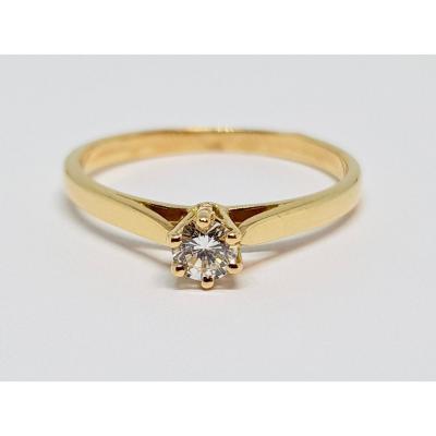 Bague Solitaire Fiançailles En Or Jaune 18 Carats 750/1000 Diamant 0.17 Carat 1.95 Gramme