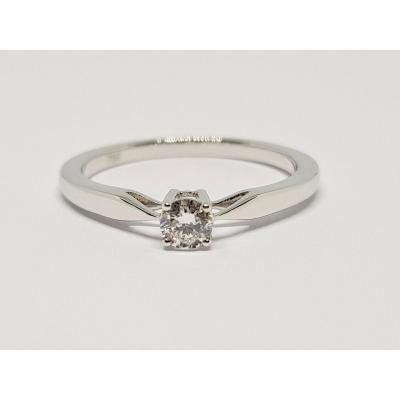 Bague Fiançailles - Solitaire En Or Blanc 18 Carats 750/1000 Diamant 0.20 Carat 2.48 Grammes