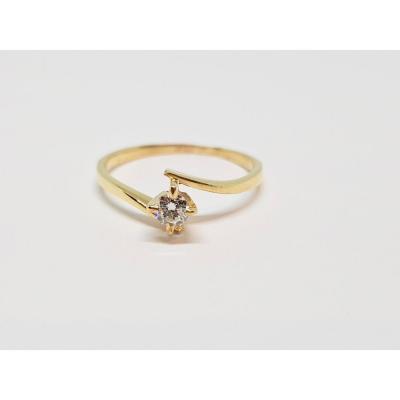 Bague Solitaire Fiançailles En Or Jaune 750/1000 Diamant 0.14 Carat 1.84 Gramme