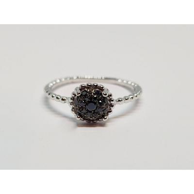 Bague En Or Blanc 18 Carats 750/1000 Diamants Noir 2.18 Grammes - Tête d'Aigle