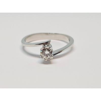 Bague - Solitaire En Or Blanc 18 Carats 750/1000 Diamant 0.27 Carat 3.07 Grammes