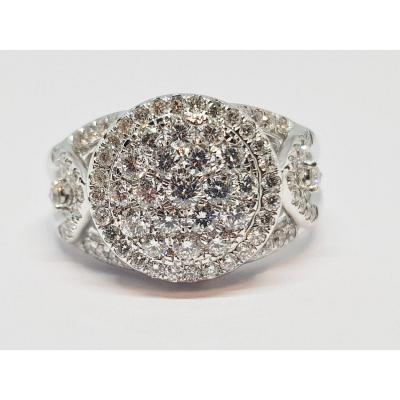 Bague En Or Blanc 18 Carats 750/1000 Diamants 1.02 Carat 6.38 Grammes