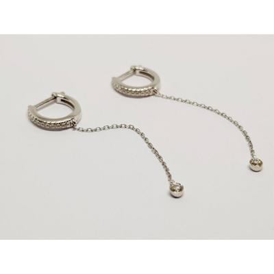 Boucles Créole Pendante En Or Blanc 18 Carats 750/1000 Diamants 1.90 Gramme